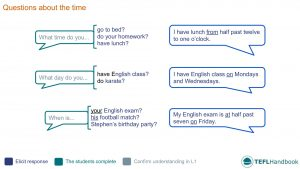 EFL - ESL Lead-in activity for questions about time | Beginner