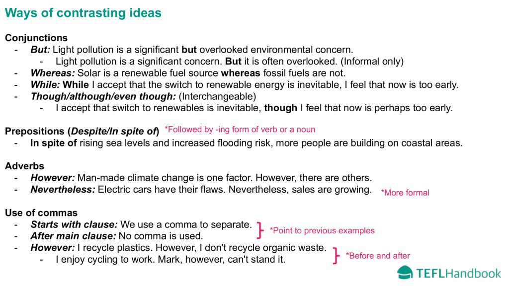 EFL - ESL Lead-in activity | Advanced | Ways of contrasting ideas | C1