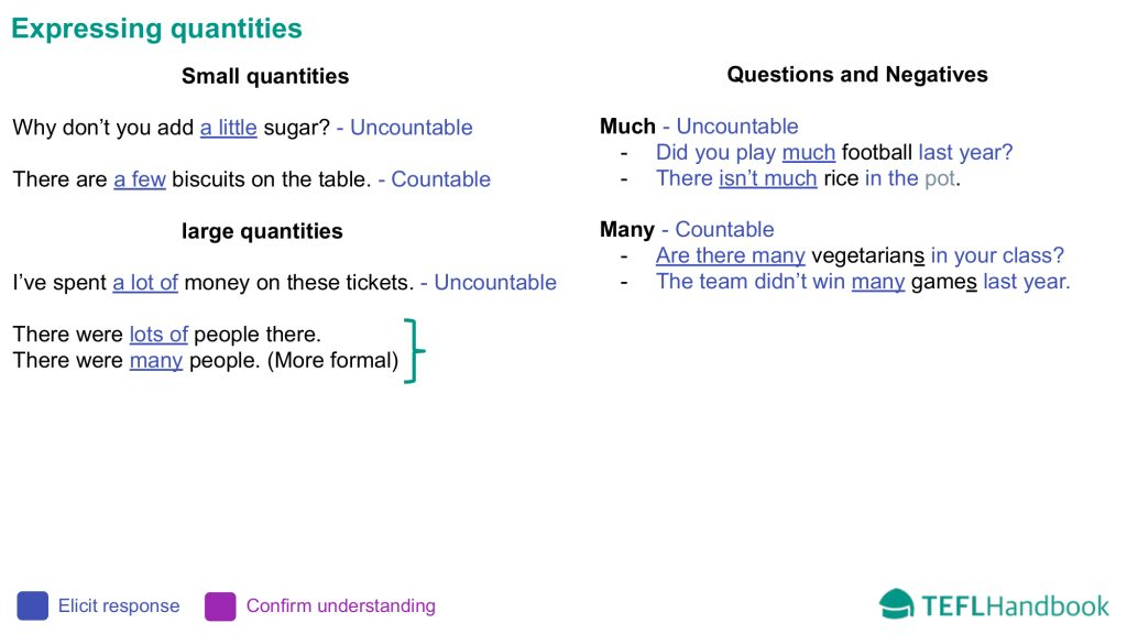 EFL - ESL Lead-in activity for elementary | Expressing quantities
