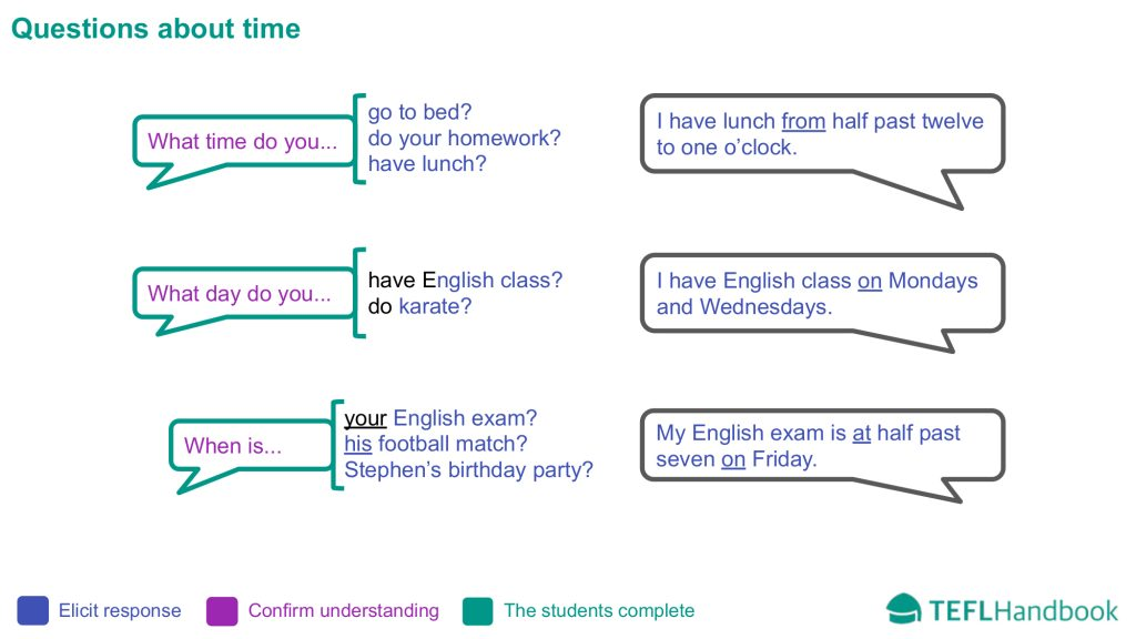 EFL - ESL Lead-in activity for beginners | Questions about time