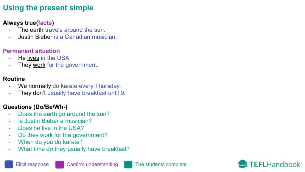 EFL - ESL Lead-in activity for teaching present simple